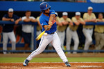 Florida Gators infielder Nelson Maldonado swinging away as the No. 1 overall seed Florida Gators conclude their opening sweep of the Gainesville Regional by beating Georgia Tech 10-1 in the final at McKethan Stadium.  June 5th, 2016. Gator Country photo by David Bowie.