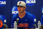 Florida Gators first baseman Peter Alonso at the post-game press conference, as the No. 1 overall seed Florida Gators conclude their opening sweep of the Gainesville Regional by beating Georgia Tech 10-1 in the final at McKethan Stadium.  June 5th, 2016. Gator Country photo by David Bowie.