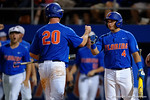 Florida Gators catcher Mike Rivera and Florida Gators first baseman Peter Alonso celebrate at the plate, as the No. 1 overall seed Florida Gators conclude their opening sweep of the Gainesville Regional by beating Georgia Tech 10-1 in the final at McKethan Stadium.  June 5th, 2016. Gator Country photo by David Bowie.