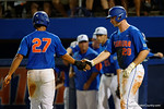 Florida Gators first baseman Peter Alonso and Florida Gators infielder Nelson Maldonado celebrate at the plate, as the No. 1 overall seed Florida Gators conclude their opening sweep of the Gainesville Regional by beating Georgia Tech 10-1 in the final at McKethan Stadium.  June 5th, 2016. Gator Country photo by David Bowie.