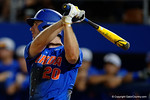 Florida Gators first baseman Peter Alonso watches a fly ball as the No. 1 overall seed Florida Gators conclude their opening sweep of the Gainesville Regional by beating Georgia Tech 10-1 in the final at McKethan Stadium.  June 5th, 2016. Gator Country photo by David Bowie.