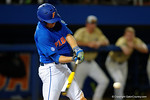 Florida Gators catcher JJ Schwarz swings away at a pitch, as the No. 1 overall seed Florida Gators conclude their opening sweep of the Gainesville Regional by beating Georgia Tech 10-1 in the final at McKethan Stadium.  June 5th, 2016. Gator Country photo by David Bowie.