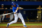 Florida Gators outfielder Danny Reyes swings at a pitch, as the No. 1 overall seed Florida Gators conclude their opening sweep of the Gainesville Regional by beating Georgia Tech 10-1 in the final at McKethan Stadium.  June 5th, 2016. Gator Country photo by David Bowie.