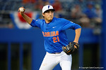 Florida Gators pitcher Alex Faedo throws to first after fielding a ground ball,as the No. 1 overall seed Florida Gators conclude their opening sweep of the Gainesville Regional by beating Georgia Tech 10-1 in the final at McKethan Stadium.  June 5th, 2016. Gator Country photo by David Bowie.