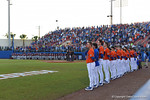 The Florida Gators and Noles stand for the National Anthem as the #1 ranked Gators chomp the #11 Florida State Seminoles 6-0 at McKethan Stadium. March 15th, 2015. Gator Country photo by David Bowie.