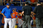 Florida Gators head coach Kevin O'Sullivan comes out to talk with the umpires as the #1 ranked Gators chomp the #11 Florida State Seminoles 6-0 at McKethan Stadium. March 15th, 2015. Gator Country photo by David Bowie.