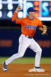Florida Gators second baseman Deacon Liput tags second base and throws to first base for a double play, as the #1 ranked Gators chomp the #11 Florida State Seminoles 6-0 at McKethan Stadium. March 15th, 2015. Gator Country photo by David Bowie.