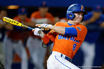 Florida Gators second baseman Deacon Liput singles as the #1 ranked Gators chomp the #11 Florida State Seminoles 6-0 at McKethan Stadium. March 15th, 2015. Gator Country photo by David Bowie.