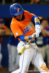 Florida Gators third baseman Jonathan India swings at a pitch as the #1 ranked Gators chomp the #11 Florida State Seminoles 6-0 at McKethan Stadium. March 15th, 2015. Gator Country photo by David Bowie.