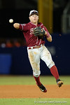 An FSU short stop throws to first base as the #1 ranked Gators chomp the #11 Florida State Seminoles 6-0 at McKethan Stadium. March 15th, 2015. Gator Country photo by David Bowie.