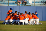 The Florida Gators gather together in the outfield before the game, as the #1 ranked Gators chomp the #11 Florida State Seminoles 6-0 at McKethan Stadium. March 15th, 2015. Gator Country photo by David Bowie.