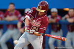 FSU infielder Matt Henderson swings away at a pitch as the #1 ranked Gators chomp the #11 Florida State Seminoles 6-0 at McKethan Stadium. March 15th, 2015. Gator Country photo by David Bowie.