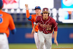 FSU infielder Dylan Busby gets caught in a run down between second and third base, as the #1 ranked Gators chomp the #11 Florida State Seminoles 6-0 at McKethan Stadium. March 15th, 2015. Gator Country photo by David Bowie.