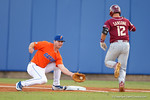 Florida Gators first baseman Peter Alonso catches a low throw for an out, as the #1 ranked Gators chomp the #11 Florida State Seminoles 6-0 at McKethan Stadium. March 15th, 2015. Gator Country photo by David Bowie.