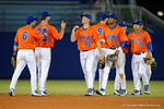 Florida Gators outfielder Ryan Larson and the Gators congratulate each other as the #1 ranked Gators chomp the #11 Florida State Seminoles 6-0 at McKethan Stadium. March 15th, 2015. Gator Country photo by David Bowie.