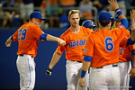 Florida Gators catcher Mike Fahrman celebrates with Florida Gators first baseman Peter Alonso as the #1 ranked Gators chomp the #11 Florida State Seminoles 6-0 at McKethan Stadium. March 15th, 2015. Gator Country photo by David Bowie.