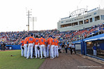 The Florida Gators gather together before they take the field, as the #1 ranked Gators chomp the #11 Florida State Seminoles 6-0 at McKethan Stadium. March 15th, 2015. Gator Country photo by David Bowie.