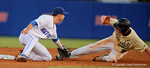 Florida Gators shortstop Dalton Guthrie makes the tag at second on Vandy IF Will Toffey in a 4-2 win over the #7 Vanderbilt Commodores at McKethan Stadium. May 13th, 2016. Gator Country photo by David Bowie.