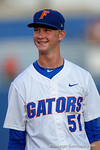 Florida Gators pitcher Brady Singer flashes a smile up to the crowd during pregame before a 4-2 win over the #7 Vanderbilt Commodores at McKethan Stadium. May 13th, 2016. Gator Country photo by David Bowie.