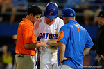 Florida Gators first baseman Peter Alonso reacts after being hit in the arm by a pitch, in a 4-2 win over the #7 Vanderbilt Commodores at McKethan Stadium. May 13th, 2016. Gator Country photo by David Bowie.
