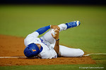 Florida Gators outfielder Buddy Reed grabs his knee after slipping on first base, in a 4-2 win over the #7 Vanderbilt Commodores at McKethan Stadium. May 13th, 2016. Gator Country photo by David Bowie.