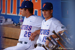Florida Gators pitcher Eddy Demurias watches on from the dugout in a 4-2 win over the #7 Vanderbilt Commodores at McKethan Stadium. May 13th, 2016. Gator Country photo by David Bowie.