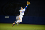Florida Gators second baseman Deacon Liput leaps into the air trying to make a leaping catch, in a 4-2 win over the #7 Vanderbilt Commodores at McKethan Stadium. May 13th, 2016. Gator Country photo by David Bowie.