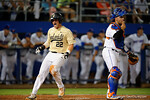 Vandy infielder Julian Infante comes across home to tie the game against the Florida Gators 1-1, the Gators sent on to win 4-2 win over the #7 Vanderbilt Commodores at McKethan Stadium. May 13th, 2016. Gator Country photo by David Bowie.