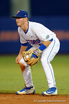 Florida Gators second baseman Deacon Liput getting set for a pitch at second, in a 4-2 win over the #7 Vanderbilt Commodores at McKethan Stadium. May 13th, 2016. Gator Country photo by David Bowie.