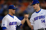 Florida Gators pitcher Logan Shore is congratulated by Florida Gators pitcher Hunter Bowling, in a 4-2 win over the #7 Vanderbilt Commodores at McKethan Stadium. May 13th, 2016. Gator Country photo by David Bowie.