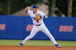Florida Gators second baseman Deacon Liput throws to first for an out in a 4-2 win over the #7 Vanderbilt Commodores at McKethan Stadium. May 13th, 2016. Gator Country photo by David Bowie.