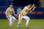 Vandy infielder Connor Kaiser catches a fly ball, the Gators went on to win 4-2 win over the #7 Vanderbilt Commodores at McKethan Stadium. May 13th, 2016. Gator Country photo by David Bowie.