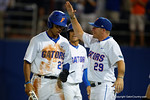 Florida Gators outfielder Buddy Reed is congratulated by Florida Gators catcher Mike Fahrman in a 4-2 win over the #7 Vanderbilt Commodores at McKethan Stadium. May 13th, 2016. Gator Country photo by David Bowie.
