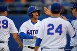 Florida Gators infielder Nelson Maldonado celebrates after scoring to put the Gators up 1-0, in a 4-2 win over the #7 Vanderbilt Commodores at McKethan Stadium. May 13th, 2016. Gator Country photo by David Bowie.