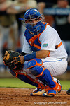Florida Gators catcher Mike Rivera looks to the dugout for the pitch call in a 4-2 win over the #7 Vanderbilt Commodores at McKethan Stadium. May 13th, 2016. Gator Country photo by David Bowie.