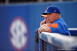 University of Florida Gators baseball head coach Kevin O'Sullivan watches on from the dugout in a 4-2 win over the #7 Vanderbilt Commodores at McKethan Stadium. May 13th, 2016. Gator Country photo by David Bowie.