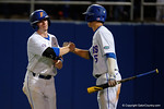 Florida Gators second baseman Deacon Liput is congratulated after scoring to put the Gators up 4-2, in a 4-2 win over the #7 Vanderbilt Commodores at McKethan Stadium. May 13th, 2016. Gator Country photo by David Bowie.
