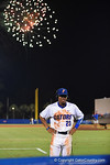 Florida Gators outfielder Buddy Reed giving an interview as fireworks fill the sky after in a 4-2 Florida Gators baseball win over the #7 Vanderbilt Commodores at McKethan Stadium. May 13th, 2016. Gator Country photo by David Bowie.