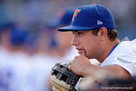 Florida Gators pitcher Nick Horvath chewing on his glove during pregame before a 4-2 win over the #7 Vanderbilt Commodores at McKethan Stadium. May 13th, 2016. Gator Country photo by David Bowie.