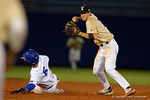 Vandy infielder Connor Kaiser turns a double play, the Gators went on to win 4-2 win over the #7 Vanderbilt Commodores at McKethan Stadium. May 13th, 2016. Gator Country photo by David Bowie.
