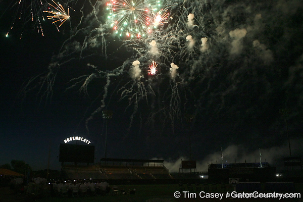 Fans watch a fireworks display during the College World Series Opening Ceremonies on Friday, June 18, 2010 at Rosenblatt Stadium in Omaha, Neb. / Gator Country photo by Tim Casey