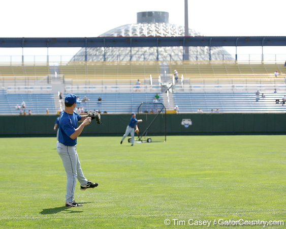 Florida senior pitcher Jeff Barfield warms up during the Gators' pre-College World Series practice on Friday, June 18, 2010 at Rosenblatt Stadium in Omaha, Neb. / photo by Tim Casey