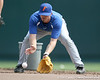 Florida junior Josh Adams fields a ground ball during the Gators' pre-College World Series practice on Friday, June 18, 2010 at Rosenblatt Stadium in Omaha, Neb. / photo by Tim Casey