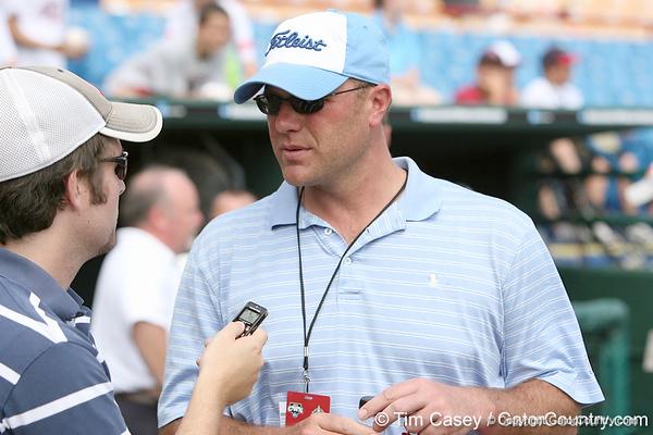Cody Jones interviews Kyle Peterson during the Gators' pre-College World Series practice on Friday, June 18, 2010 at Rosenblatt Stadium in Omaha, Neb. / photo by Tim Casey
