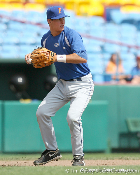 Florida freshman infielder Cody Dent throws to second base during the Gators' pre-College World Series practice on Friday, June 18, 2010 at Rosenblatt Stadium in Omaha, Neb. / photo by Tim Casey