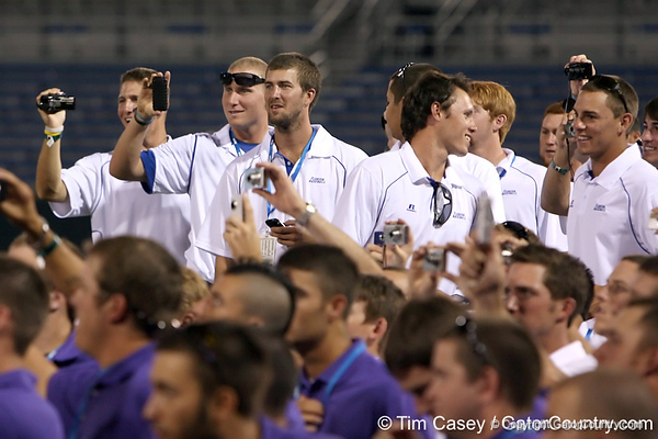 Florida players watch during the College World Series Opening Ceremonies on Friday, June 18, 2010 at Rosenblatt Stadium in Omaha, Neb. / photo by Tim Casey