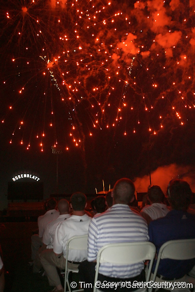 Players watch a fireworks display during the College World Series Opening Ceremonies on Friday, June 18, 2010 at Rosenblatt Stadium in Omaha, Neb. / Gator Country photo by Tim Casey