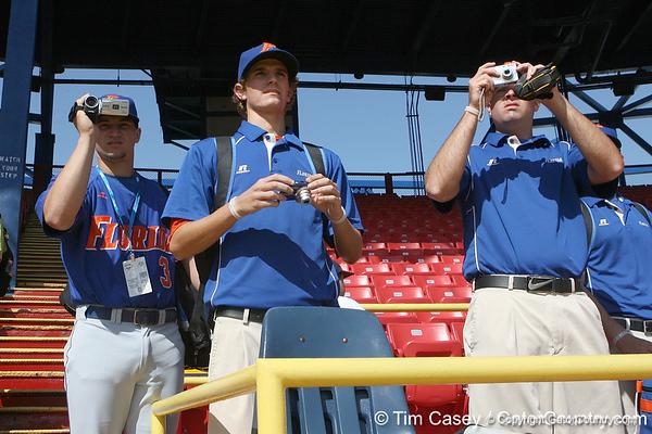Florida freshman catcher Mike Zunino shoots a video during the Gators' pre-College World Series practice on Friday, June 18, 2010 at Rosenblatt Stadium in Omaha, Neb. / photo by Tim Casey