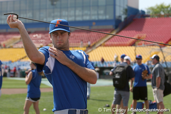 Florida junior pitcher Matt Campbell warms up during the Gators' pre-College World Series practice on Friday, June 18, 2010 at Rosenblatt Stadium in Omaha, Neb. / photo by Tim Casey