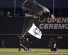 Paratroopers deliver flags during the College World Series Opening Ceremonies on Friday, June 18, 2010 at Rosenblatt Stadium in Omaha, Neb. / photo by Tim Casey